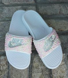 85187c68cb8 Bling Nike Slide Shoes - Bedazzled Slippers - Custom Nike Slides - Crystal  Slides - Embellished Nike Shoes - Female Athlete - Glam - Pink