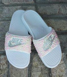 fdfab0255094 Bling Nike Slide Shoes - Bedazzled Slippers - Custom Nike Slides - Crystal  Slides - Embellished Nike