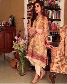 Pakistani actor Ayesha Omer in an Eid outfit by Sania Maskatiya.