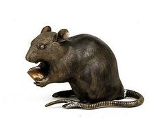 pictures of japanese mouse | Meiji Japanese Bronze Rat Mouse Mice Okimono