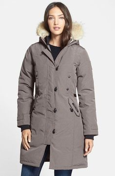 Main Image - Canada Goose Kensington Slim Fit Down Parka with Genuine Coyote Fur Trim Canada Goose Kensington, Kensington Parka, Down Parka, Blazer, Military Fashion, Fur Trim, Everyday Fashion, Coats For Women, Canada Goose Jackets