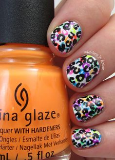 Layered Cheetah Print with China Glaze Electric Nights! Would make a cute accent nail