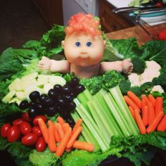 Baby Shower Veggie Tray With Cabbage Patch Doll