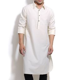 A Kurta is is a loose fitting shirt that falls just above or somewhere below the knees of the wearer. They were traditionally worn with pajamas, salwars, churidars or dhotis, but are now also worn with jeans. Kurtas are worn casually as well as formally. Kurtas are made from a variety of fabrics, with both summer and winter seasons in mind. Cotton is the norm for most kurtas, with silk being saved for formal kurtas and wool to make heavier kurtas.