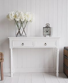 New England White console table with two drawers and antique brass handles for hall furniture