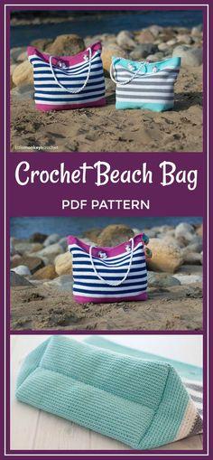 Crochet Beach Bag Pattern, Tote Bag Crochet (Classic Beach Bag Crochet Pattern by Little Monkeys Crochet) Beach Tote Crochet PDF Hit the beach in style. Crochet Beach Bags, Bag Crochet, Crochet Purses, Crochet Baby, Sewing Tutorials, Sewing Crafts, Sewing Projects, Crochet Patterns, Sewing Patterns