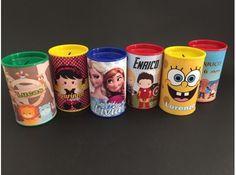 Kit com 10 Cofrinhos Personalizados em qualquer tema! Entregues embalados em saquinhos de celofane e acompanha tags!