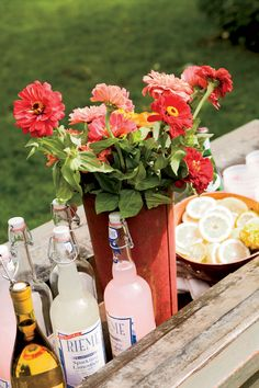 Put a centerpiece of flowers at the buffet for a different way to brighten up your drink display.