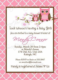 Momma and baby girl Owl baby shower by SweetBeeDesignShoppe - Click image to find more Kids Pinterest pins