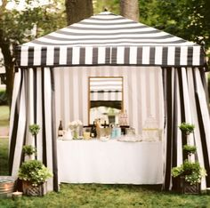 black & white striped tent.