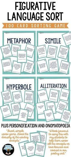 Use this fun and interactive sorting game to review and reinforce figurative language. These 100 cards each have examples of figurative language taken from real YA literature. Students will sort them into seven categories: metaphors, similes, personificat