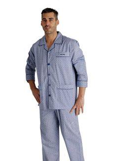 Pijama de Tela Clásico PETTRUS MAN en azul para el DÍA DEL PADRE. Pijama para usar todo el año en 100% algodón y muy buen precio. Envío Urgente 24/48h.