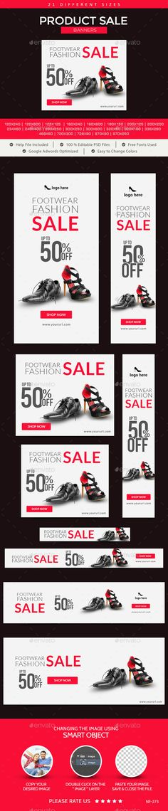 Product Sale Banners. 21 awesome quality banner template PSD files ready for your Services, products, campaigns.Each PSD files are layered and fully organized. You can use this banners for google adwords & Adroll too. ( All google adwords, Adroll banner sizes included).