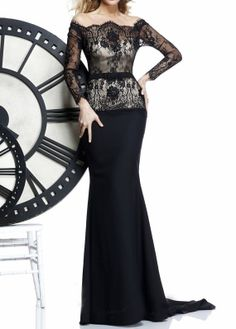 Evening Dress, Black  Lace Formal Dress, Lace Mermaid Evening Dress,Long Sleeve Formal Dress on Etsy, $280.00