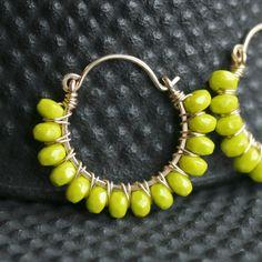 Handmade wire wrapped hoops hoop earrings by MimiMicheleJewelry, $45.50