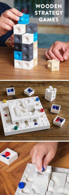 Outwit your opponent with strategy and spatial skills. Sustainably made, these games have a universal appeal and sculptural, timeless design. Great for family game night. Family Game Night, Family Games, Games For Kids, Games To Play, Activities For Kids, Wooden Board Games, Wood Games, Diy Games, Math Games