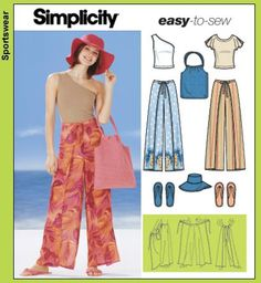 Simplicity pattern for wrap around pants and a hat to boot!!