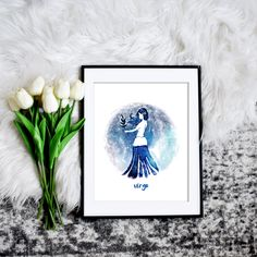 Add a touch of stars to any decor with this Virgo art. Just download and print.  #virgo #zodiacart #zodiacsigns #downloadandprint #printableart Virgo Art, Zodiac Signs Virgo, Zodiac Art, Rgb Color Space, Virgo Constellation, Mermaid Invitations, Holiday Gift Tags, Decorating On A Budget, Constellations