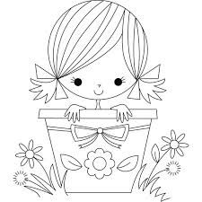 Stamping Bella Florence the Flower Pot Girl Rubber Stamp Embroidery Stitches, Embroidery Patterns, Hand Embroidery, Quilling Patterns, Coloring Book Pages, Digital Stamps, Easy Drawings, Doodle Art, Cross Stitch