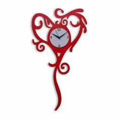 Klok Heart With Long Tail Wall Clock Red,Wall Clocks