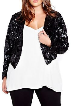 Holiday parties, here I come! Plus Size Cropped Sequin Jacket