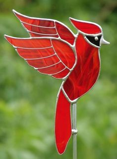 Cardinal Garden Stake by theglassmenagerie on Etsy, $16.00
