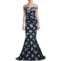 Badgley Mischka Ruched Off-the-Shoulder Floral Ponte Gown (€1.035) ❤ liked on Polyvore featuring dresses, gowns, floral ball gown, floral gown, badgley mischka gowns, off the shoulder evening dress and floral print evening gown