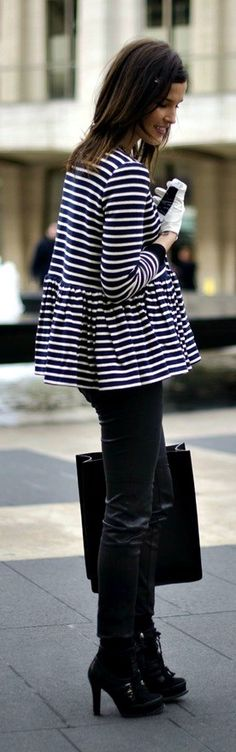 b&w striped peplum