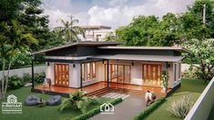 Modern, Villa-Style Single Storey House With Two Bedrooms - Ulric Home Single Storey House Plans, One Storey House, Small Modern House Plans, Small House Floor Plans, Loft House, Zen House, Two Bedroom House Design, Modern Tropical House, Asian House