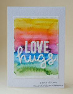InvisiblePinkCards: Rainbow love hugs using Tim Holtz Distress markers and a water brush and Lawn Fawn dies