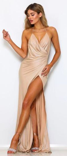 Abyss by Abby Romi gown fitted stretch material, with shine gold finish tie halter neck style lined on bust, bottom pant lining attached to dress sheer on bottom skirt model wearing size XS an is XS S M L Bust 78 81 85 89 Waist 61 64 68 72 Hip 80 83 87 91 Evening Dresses, Prom Dresses, Formal Dresses, Abyss By Abby, Belle Lucia, Sheer Dress, Beach Babe, Halter Neck, Party Dress