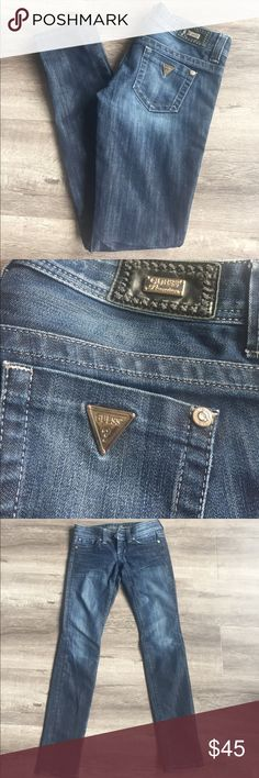"""Guess premium skinny leg jeans Excellent condition premium jeans slightly distressed in edge of ankle that's the style waist a little over 14.5"""" low rise 6"""" inseam 30"""" 60% cotton 40% poly little stretch no trades no modeling Guess Jeans Skinny"""
