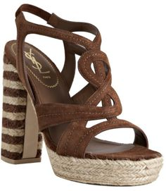 Saint Laurent Light Brown Suede Gipsy Chyc 105 Platform Sandals in ...