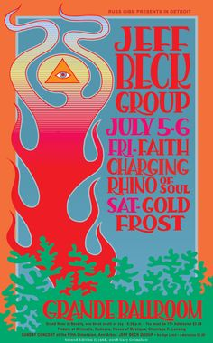 Jeff Beck Group Concert Poster, 1968.