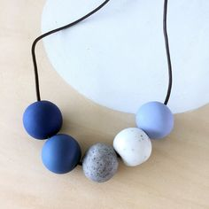 modern blue grey white handmade polymer clay necklace handmade by accentvault | unique gift for her