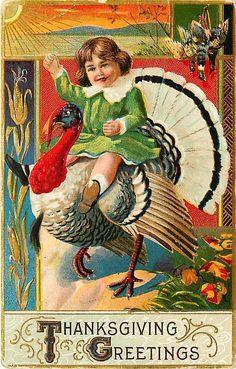 Thanksgiving 1910 Little Girl Rides Turkey Collectible Antique Vintage Postcard #Thanksgiving