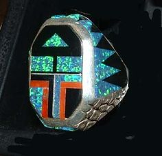 indian iridescent turquoize ring