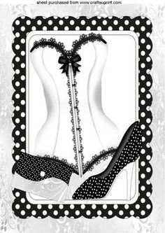 BLACK WHITE POLKA DOT FRAME WITH WHITE LACE BASQUE SHOE A4  on Craftsuprint - Add To Basket!