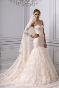 Blush and other colored wedding dresess continue to trend for 2013   Monique Lhuillier, Spring 2013   OneWed