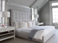 Although I'm sure you already have plenty of master bedroom design ideas in mind, before you start decorating the room you must pay attention to the basics. By definition, the master bedroom is usually the largest one in the house… Continue Reading → White Bedroom, Dream Bedroom, Master Bedroom, Bedroom Decor, Bedroom Ideas, Design Bedroom, Serene Bedroom, Bedroom Bed, Deco Design