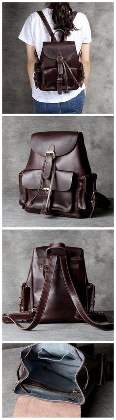 Leather backpack for Women, Full Grain Leather Backpack OAK067