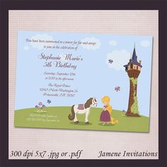 Rapunzel girl's Birthday Party Printable Invitation - Print your own