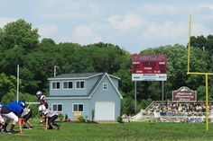 An Announcers Booth at a Football Field in New Jersey. This building was built by Sheds Unlimited and delivered as a unit to Lumberton, NJ. Call 717-442-3281 to buy a cheap announcers booth and concession stand.