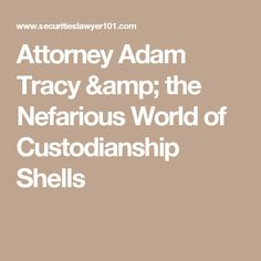 Attorney Adam Tracy & the Nefarious World of Custodianship Shells