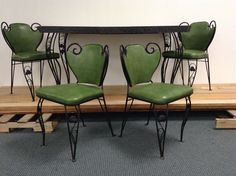 Vintage Retro Wrought Iron Green Grey Formica Kitchen Dining Table w 4 Chairs | eBay