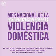 Octubre es el mes Nacional de la Concientización  sobre la #ViolenciaDoméstica. Visite,  www.segurosocial.gov/pubs/ES-05-10993.pdf