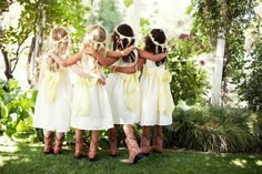 Flower girl hair and cowboy boots for little girls