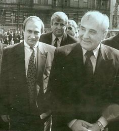 Vladimir Putin and Mikhail Gorbachev during his visit in Saint-Petersburg. April for God sake Putin looks older then now! Vladimir Putin, Mikhail Gorbachev, Russian Federation, Interesting History, Historical Pictures, World History, Famous People, Royals, Black And White