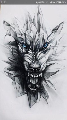 Pissed off wolf tattoo design. Geometric effect . - Pissed off wolf tattoo design. Geometric effect … – Wolf tattoo design - Geometric Wolf Tattoo, Tribal Wolf Tattoo, Geometric Tattoos Men, Lion Tattoo, Tattoo Wolf, Geometric Animal, Geometric Drawing, Wolf Tattoo Design, Wolf Design
