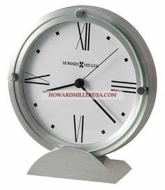 Brushed Silver Semicircle Base Round Tabletop Clock | 645671 Howard Miller